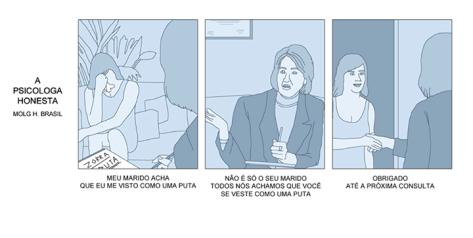 Tira de La Psicóloga Honesta traducida al portugués
